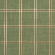 Load image into Gallery viewer, Essentials Green Brown Cream Checkered Plaid Upholstery Drapery Fabric / Juniper Windowpane