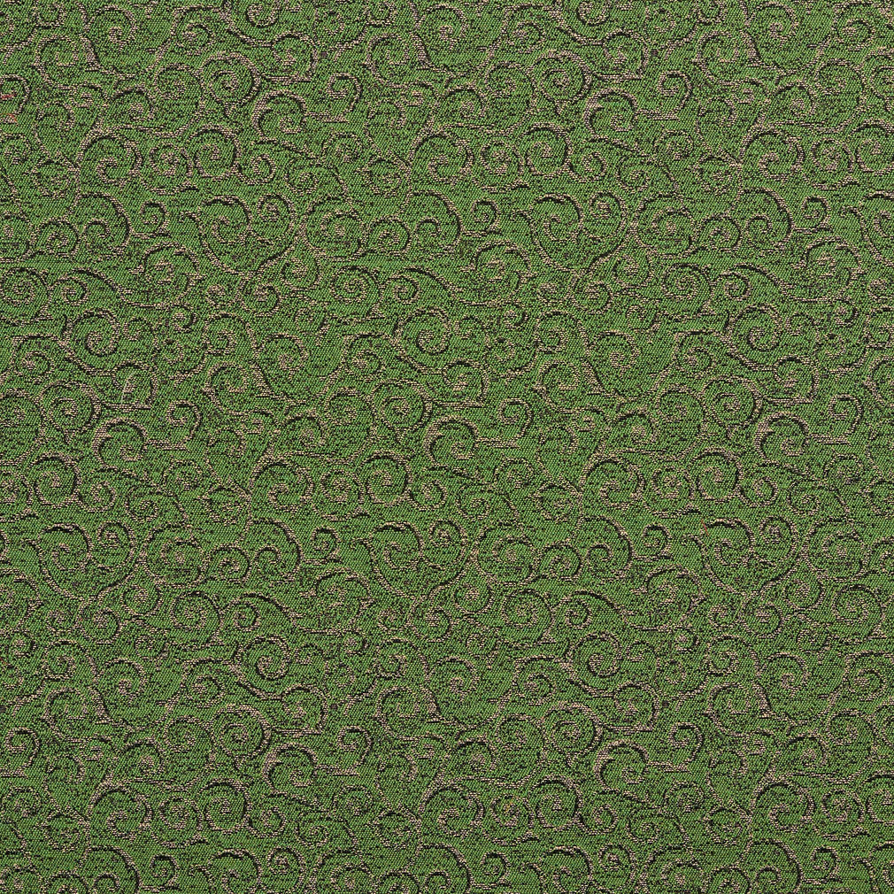Essentials Heavy Duty Mid Century Modern Scotchgard Upholstery Fabric Green Gold Paisley / Fern