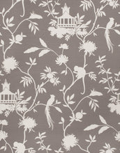 Load image into Gallery viewer, Asian Chinoiserie Pagoda Bird Print Toile Fabric / Grey