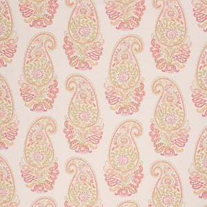 Embroidery Print Cotton Paisley Drapery Upholstery Fabric Pink Red Olive / Harvest RMIL1