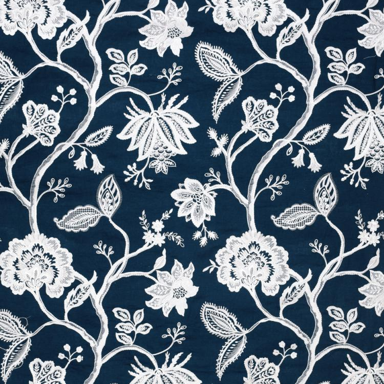 Hampton Court Navy Blue White Embroidered Jacobean Floral Linen Blend Fabric / Navy