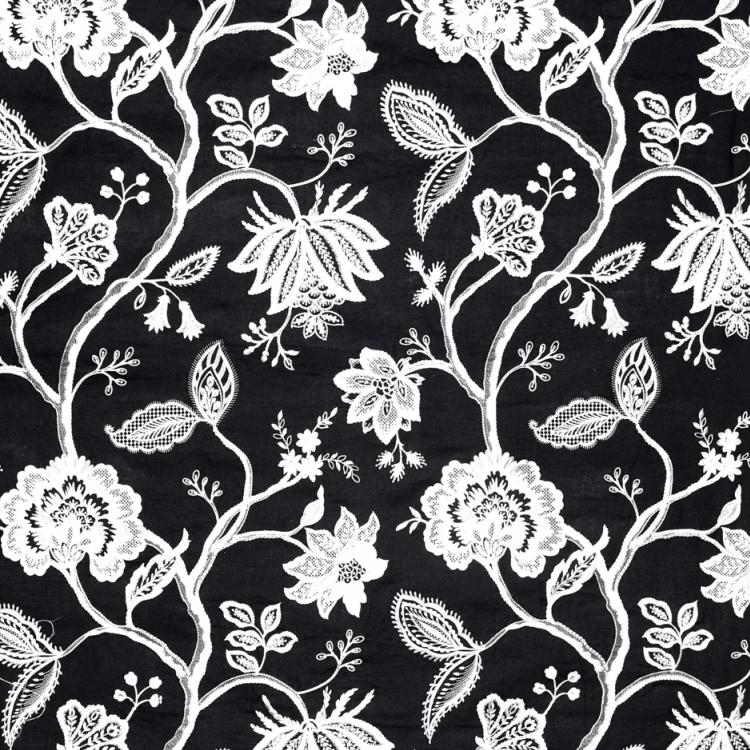 Hampton Court Embroidered Black and White Jacobean Floral Linen Blend Fabric / Onyx