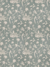 Load image into Gallery viewer, Asian Chinoiserie Pagoda Bird Print Toile Fabric / Haze