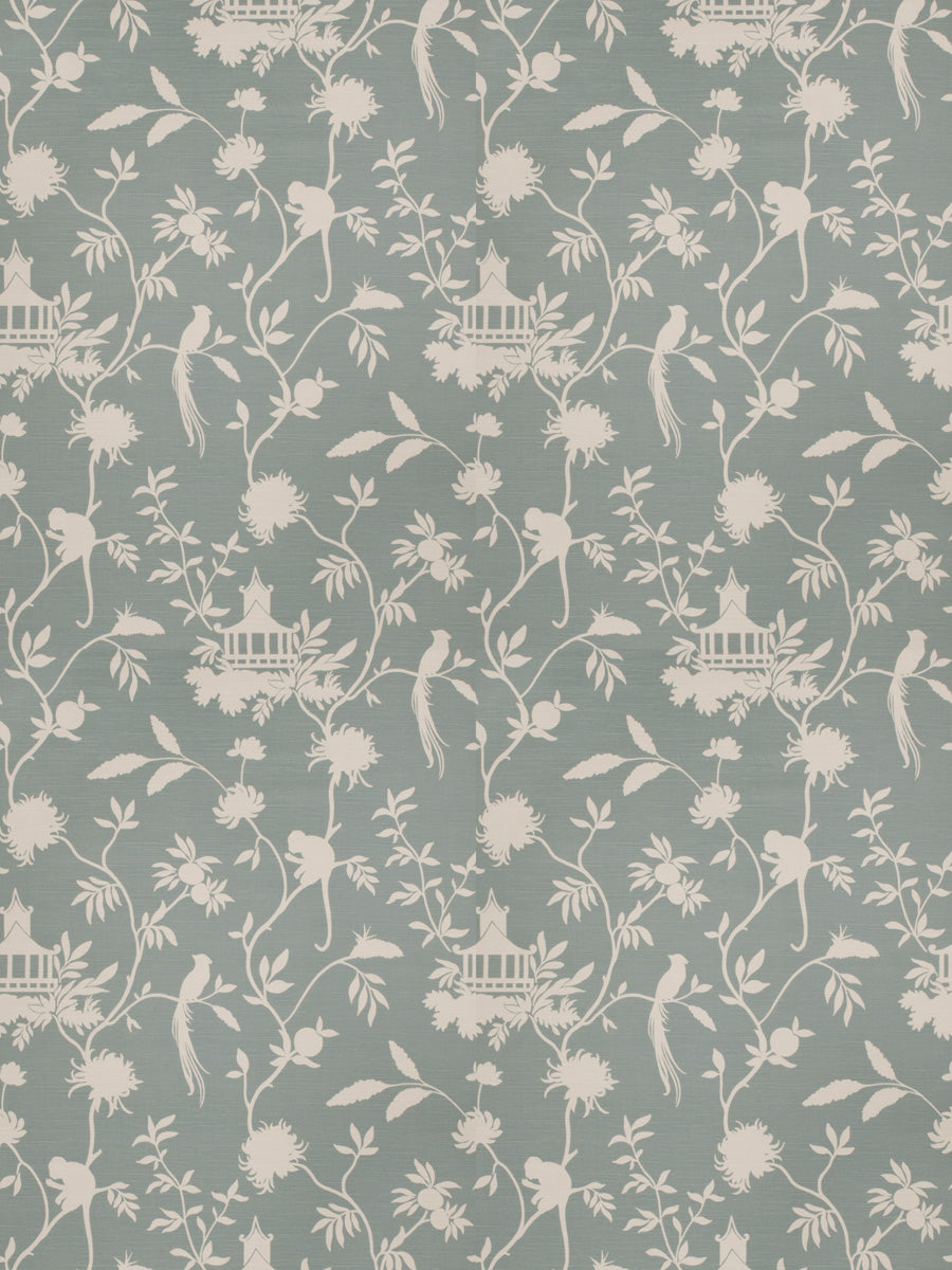 Asian Chinoiserie Pagoda Bird Print Toile Fabric / Haze