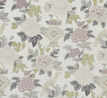 Load image into Gallery viewer, Floral Bird Asian Chinoiserie Drapery Fabric / Heather