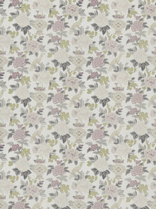 Floral Bird Asian Chinoiserie Drapery Fabric / Heather