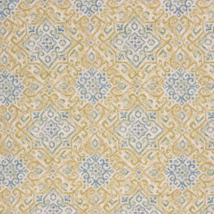 Linen Viscose Ikat Southwestern Drapery Upholstery Fabric Blue Olive / Isle Waters RMIL1