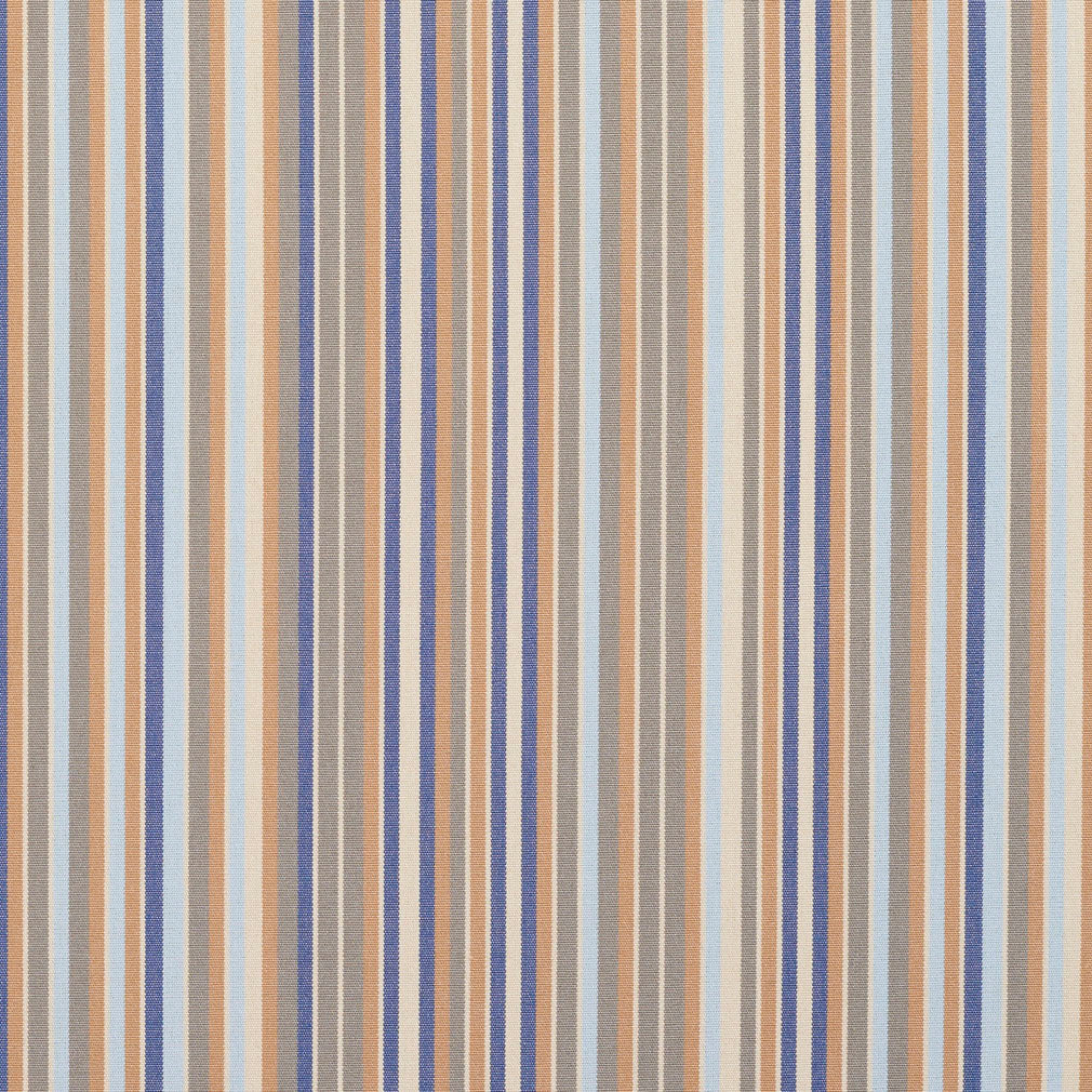 Essentials Indoor Outdoor Gray Greige Blue Apricot Beige Stripe Upholstery Fabric / Chambray