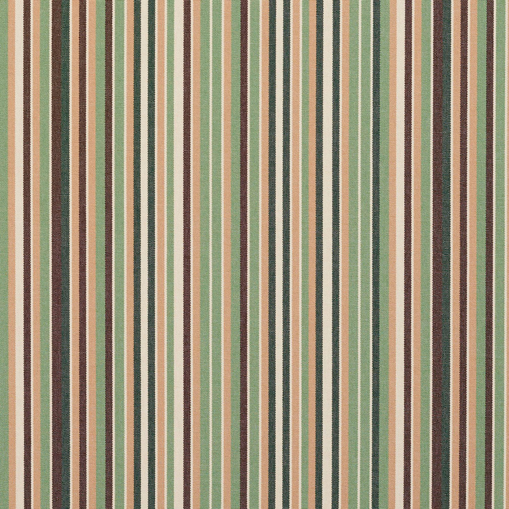 Essentials Indoor Outdoor Green Brown Sage White Apricot Beige Stripe Upholstery Fabric / Pesto