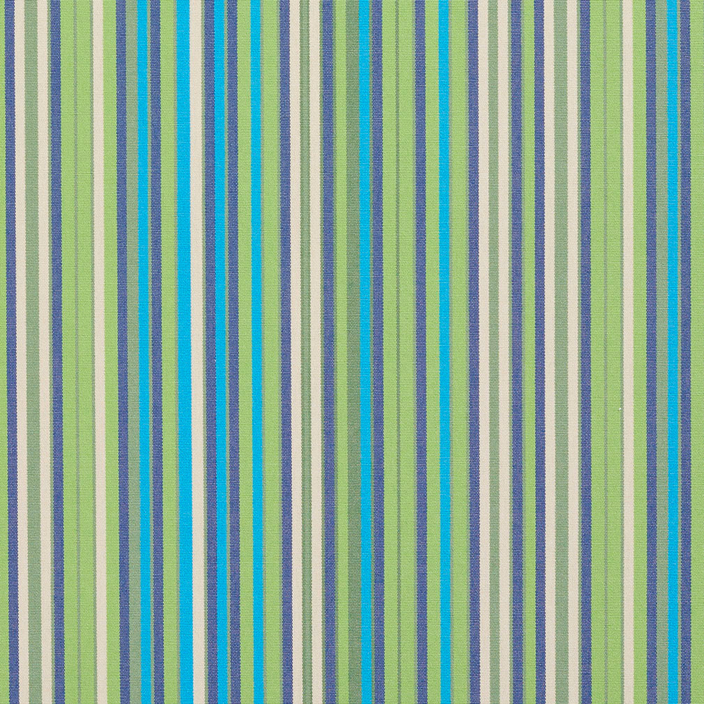 Essentials Indoor Outdoor Lime Green Turquoise Denim Blue Stripe Upholstery Fabric / Meadow