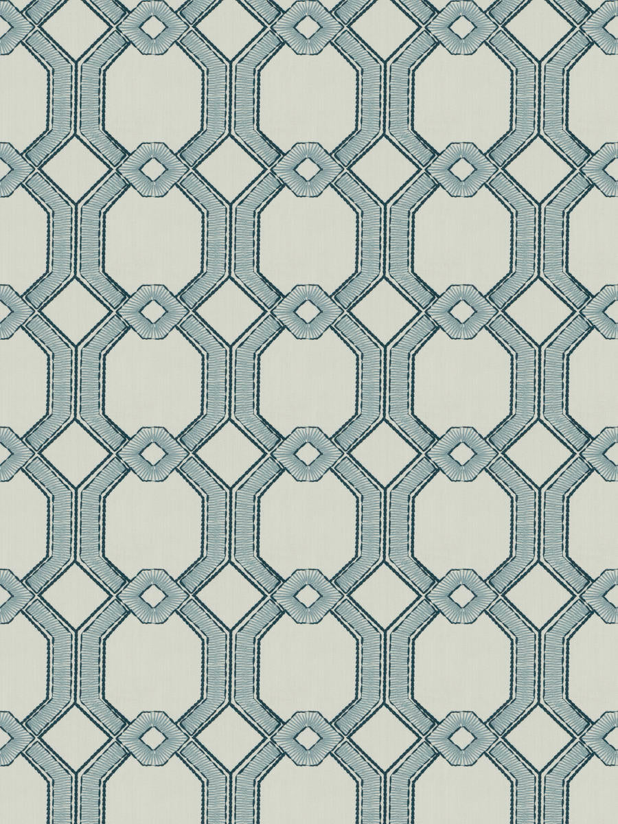 2 Colors Embroidered Drapery Fabric Blue Seafoam Geometric