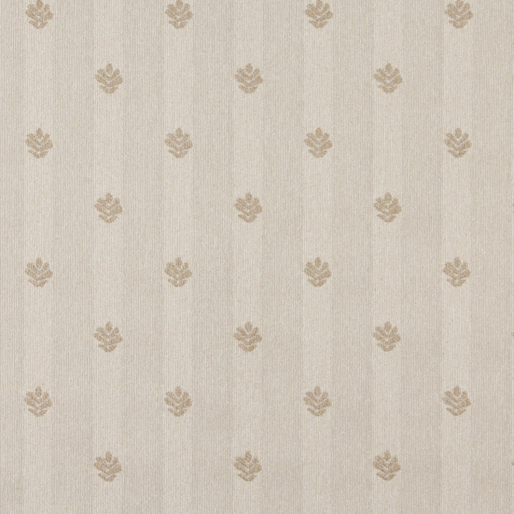 Essentials Ivory Beige Upholstery Fabric / Natural Leaf