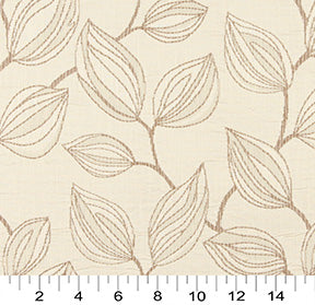 Essentials Cityscapes Ivory Brown Botanical Leaf Pattern Upholstery Fabric