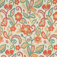 Load image into Gallery viewer, Essentials Cityscapes Ivory Orange Teal Mauve Green Beige Floral Upholstery Drapery Fabric