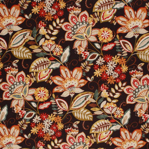 Cotton Floral Drapery Fabric Mustard Red Teal Brown Black / Jewel
