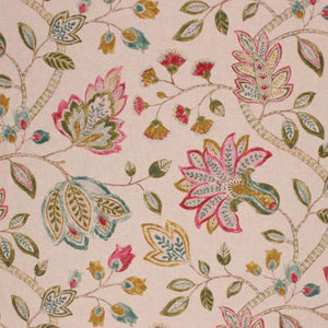 Cotton Drapery Fabric Floral Taupe Green Teal Magenta / Jewel
