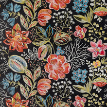 Load image into Gallery viewer, Joy Embroidered Black Floral Linen Cotton Blend Drapery Fabric / Night Fire