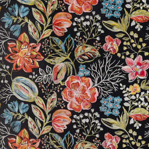 Joy Embroidered Black Floral Linen Cotton Blend Drapery Fabric / Night Fire