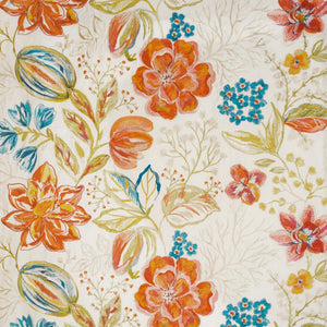 Joy Embroidered Floral Linen Cotton Blend Drapery Fabric / Tropical