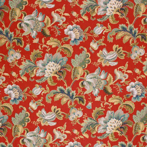 Cotton Floral Drapery Fabric Jacobean Red Gray Olive Green Aqua Blue / Lacquer
