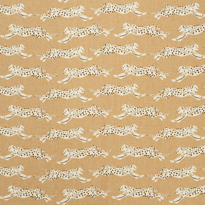 SCHUMACHER LEAPING LEOPARDS FABRIC / SAND