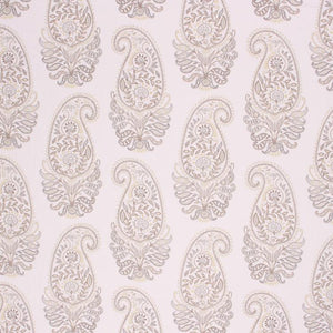 Embroidery Print Cotton Paisley Drapery Upholstery Fabric Ivory Lilac Silver / Linen RMIL1