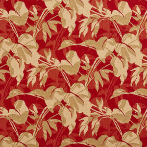 Essentials Outdoor Upholstery Drapery Leaf Branches Fabric / Red Beige