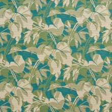 Load image into Gallery viewer, Essentials Outdoor Upholstery Drapery Leaf Branches Fabric / Turquoise Beige