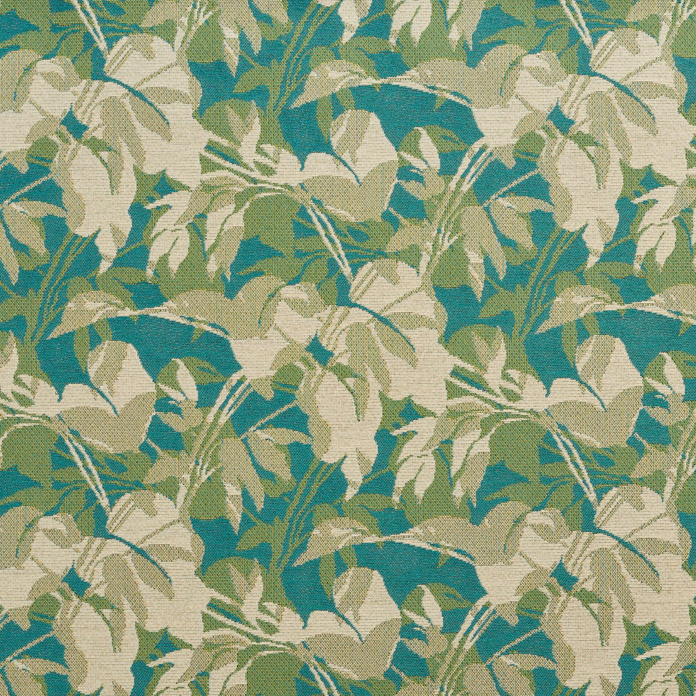 Essentials Outdoor Upholstery Drapery Leaf Branches Fabric / Turquoise Beige