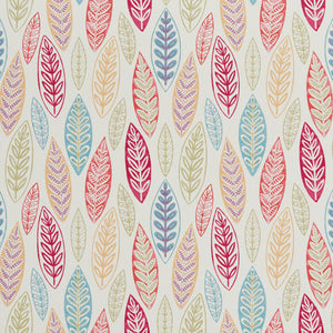 Essentials Drapery Upholstery Leaves Fabric / Crimson Green Blue Whitw