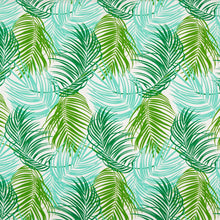 Load image into Gallery viewer, Essentials Outdoor Stain Resistant Leaves Upholstery Drapery Fabric Lime Green Turquoise / Cayman