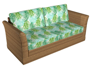 Essentials Outdoor Stain Resistant Leaves Upholstery Drapery Fabric Lime Green Turquoise / Cayman