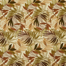 Load image into Gallery viewer, Essentials Outdoor Stain Resistant Leaves Upholstery Drapery Fabric Olive Green Beige / Sienna