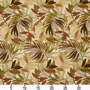 Essentials Outdoor Stain Resistant Leaves Upholstery Drapery Fabric Olive Green Beige / Sienna