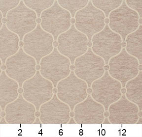 Essentials Chenille Light Brown Cream Geometric Trellis Upholstery Fabric