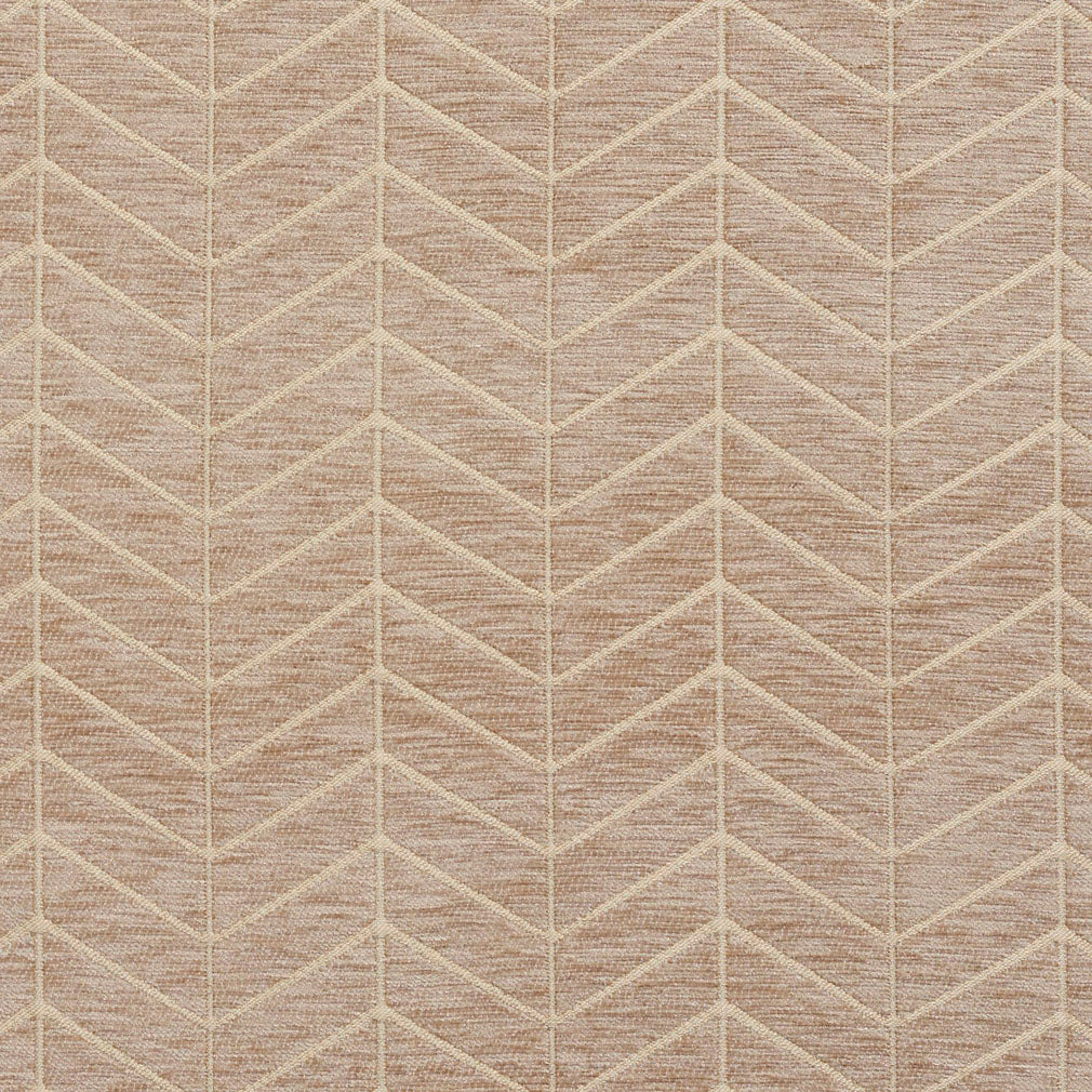 Essentials Chenille Light Brown Cream Geometric Zig Zag Chevron Upholstery Fabric