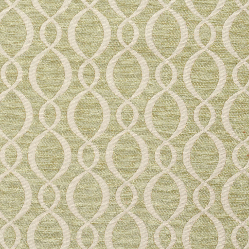 Essentials Chenille Light Olive Cream Oval Trellis Upholstery Fabric