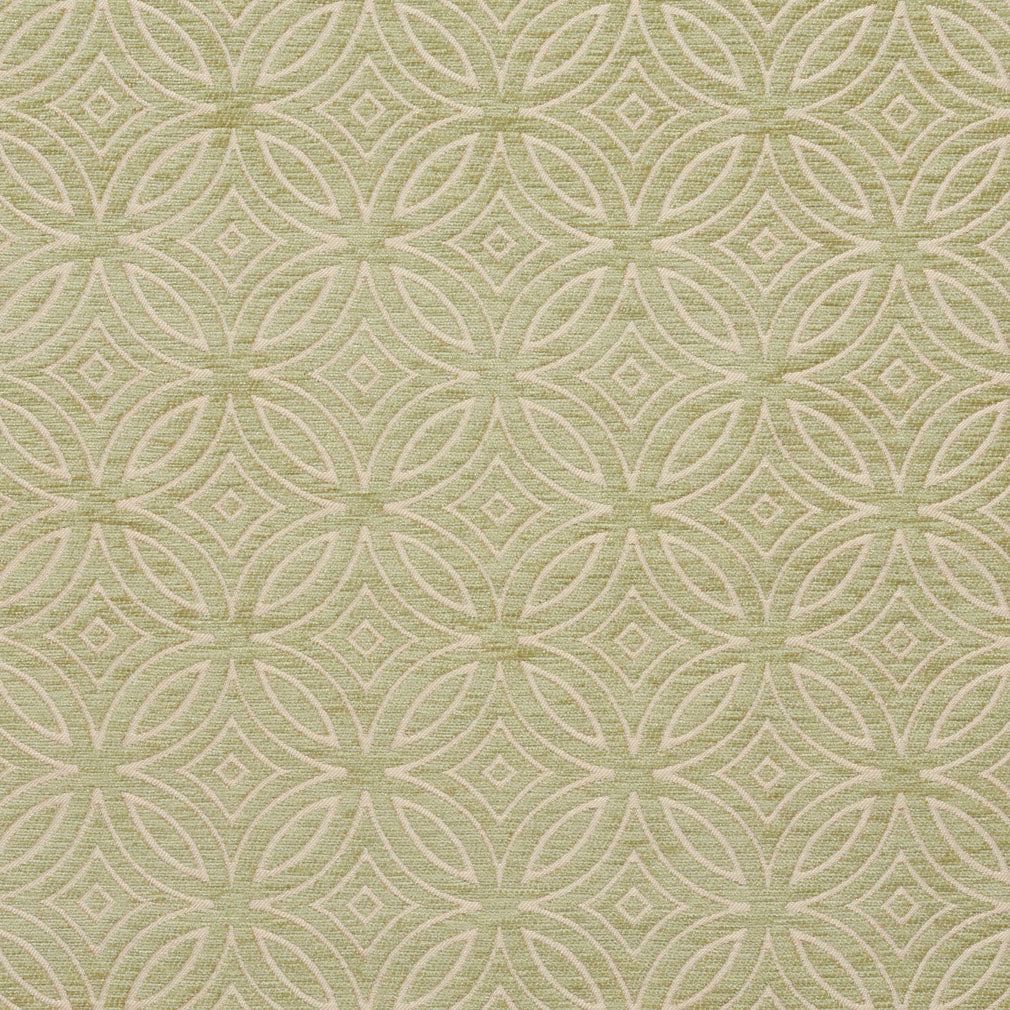 Essentials Chenille Light Olive Cream Geometric Medallion Upholstery Fabric