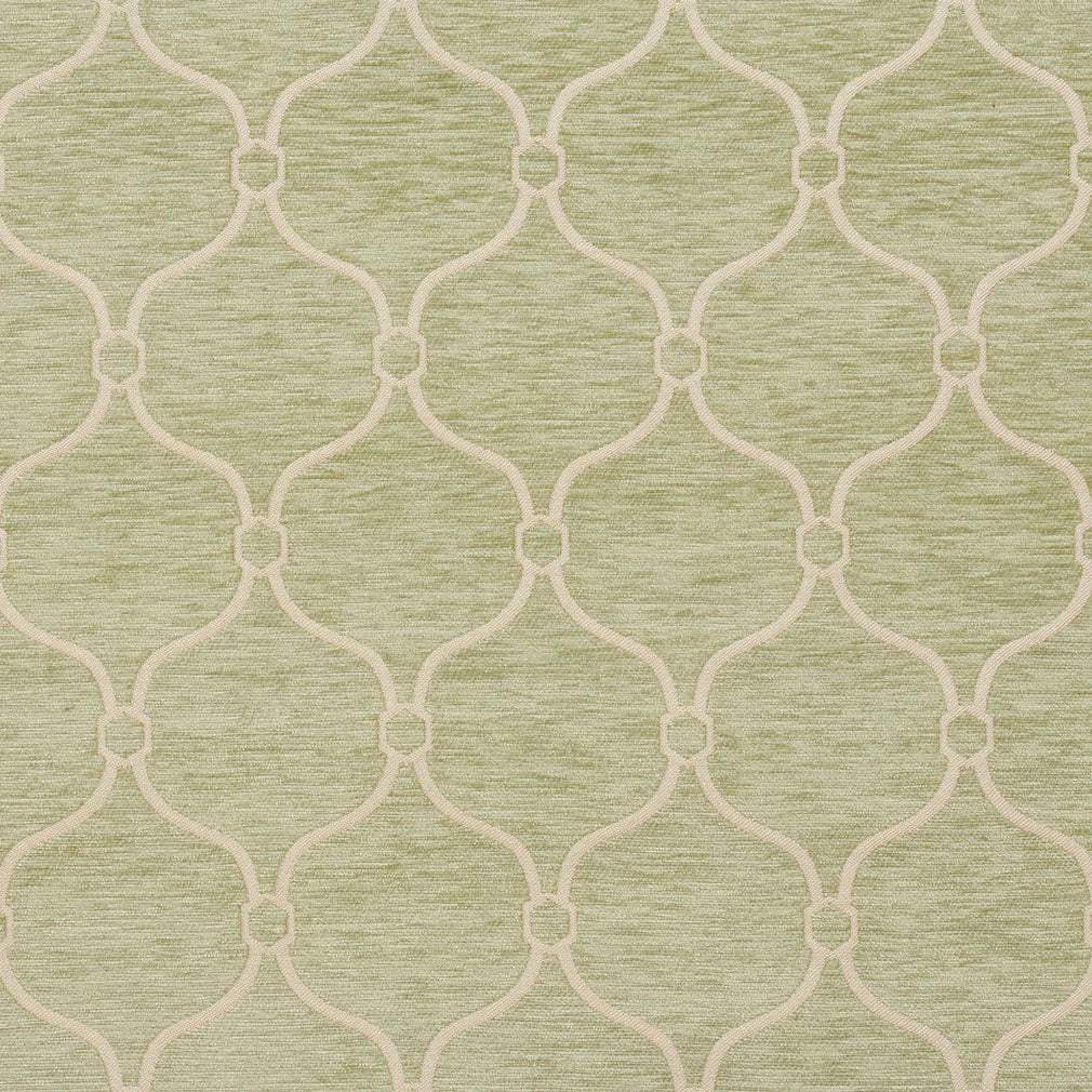 Essentials Chenille Light Olive Cream Geometric Trellis Upholstery Fabric