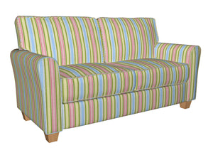 Essentials Lime Pink Aqua Blue White Stripe Upholstery Drapery Fabric