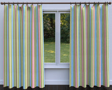Load image into Gallery viewer, Essentials Lime Pink Aqua Blue White Stripe Upholstery Drapery Fabric