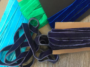 "5/8"" (16 mm) Double Faced Velvet Ribbon / Aqua / Purple/ Royal Blue / Green"