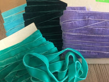 "Load image into Gallery viewer, 5/8"" (16 mm) Double Faced Velvet Ribbon / Aqua / Teal / Lilac / Green"