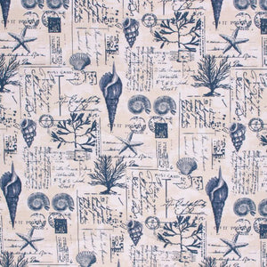 Cotton Upholstery Drapery Fabric Nautical Beach Tropical Navy Blue Beige Cream Coral Shell / Mariner
