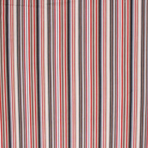 Cotton Stripe Drapery Fabric Red Navy Blue White Gray / Moonbeam