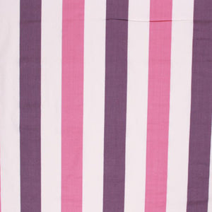 Nautical Cotton Stripe Upholstery Drapery Fabric Purple Pink White / Mulberry RMIL1
