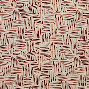 Essentials Maroon Mauve Coral Gray Ivory Abstract Upholstery Fabric / Wine Tally