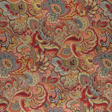 Load image into Gallery viewer, Essentials Cityscapes Maroon Salmon Mauve Blue Olive Green Floral Paisley Upholstery Drapery Fabric