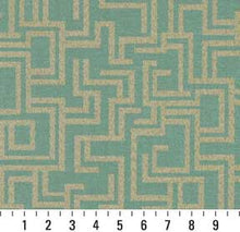 Load image into Gallery viewer, Essentials Indoor Outdoor Upholstery Drapery Maze Fabric Turquoise / Seafoam Geometric