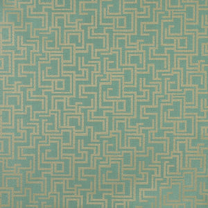 Essentials Indoor Outdoor Upholstery Drapery Maze Fabric Turquoise / Seafoam Geometric